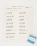 Political:Presidential Relics, John F. Kennedy 1962 List of Passengers Including the First Family, Plus a Pack of Official Air Force One Matches with the Pre...
