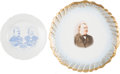 Political:3D & Other Display (pre-1896), Cleveland & Stevenson: Jugate Plate and Large Limoges Charger.... (Total: 2 Items)