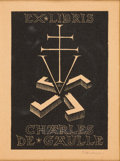 Books:Americana & American History, [Bookplates]. Charles de Gaulle's Bookplate. [France, ca. 1941]....