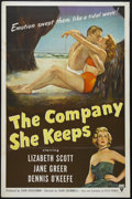 "Movie Posters:Drama, The Company She Keeps (RKO, 1951). One Sheet (27"" X 41""). Romance. Directed by John Cromwell. Starring Lizabeth Scott, Jane ..."