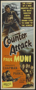 "Movie Posters:War, Counter-Attack (Columbia, 1945). Insert (14"" X 36""). War Drama. Directed by Zoltan Korda. Starring Paul Muni. Keywords: weap..."