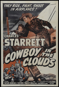 """Cowboy in the Clouds (Columbia, 1943). One Sheet (27"""" X 41""""). Western. Directed by Ben Kline. Starring Charles..."""