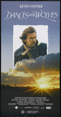 "Dances With Wolves (Orion, 1990). Australian Daybill (13"" X 30""). Western. Directed by Kevin Costner. Starring..."