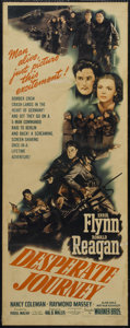 "Movie Posters:War, Desperate Journey (Warner Brothers, 1942). Insert (14"" X 36""). War.Directed by Raoul Walsh. Starring Errol Flynn, Ronald Re..."