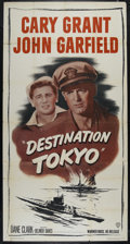 "Movie Posters:War, Destination Tokyo (Warner Brothers, R-1950). Three Sheet (41"" X 81""). War. Directed by Delmar Daves. Starring Cary Grant, Jo..."