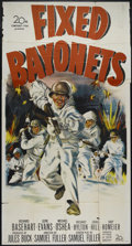 "Movie Posters:War, Fixed Bayonets! (20th Century Fox, 1951). Three Sheet (41"" X 81"").War. Directed by Samuel Fuller. Starring Richard Basehart..."