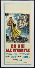 "Movie Posters:War, From Here To Eternity (Columbia, 1953). Italian Locandina (13"" X 27.5""). War Drama. Directed by Fred Zinnemann. Starring Bur..."