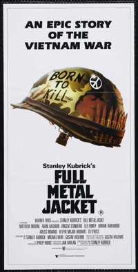 "Full Metal Jacket (Warner Brothers, 1987). Australian Daybill (13"" X 30""). War. Directed by Stanley Kubrick. S..."