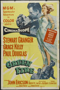 "Movie Posters:Adventure, Green Fire (MGM, 1954). One Sheet (27"" X 41""). Romantic Adventure.Directed by Andrew Marton. Starring Stewart Granger, Grac..."