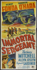 "Movie Posters:War, Immortal Sergeant (20th Century Fox, 1943). Three Sheet (41"" X 81""). War. Directed by John M. Stahl. Starring Henry Fonda, M..."