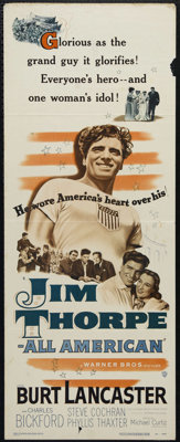 """Jim Thorpe-All American (Warner Brothers, 1951). Insert (14"""" X 36""""). Sports Drama. Directed by Michael Curtiz..."""