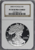 2004-W $1 Silver Eagle PR70 Deep Cameo NGC. NGC Census: (0/0). PCGS Population (283/0). Numismedia Wsl. Price for NGC/PC...