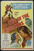 "Movie Posters:Adventure, The Last of the Mohicans (Producers Releasing, R-1947). One Sheet (27"" X 41""). Historical Drama. Directed by George B. Seitz..."