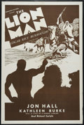 "Movie Posters:Adventure, Lion Man (Normandy, R-1930s). One Sheet (27"" X 41""). Drama. Directed by J.P. McCarthy. Starring Richard Carlyle, Jon Hall, E..."