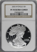 2003-W $1 Silver Eagle PR70 Deep Cameo NGC. NGC Census: (5310/0). PCGS Population (305/0). Numismedia Wsl. Price for NGC...