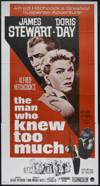 """The Man Who Knew Too Much (Paramount, R-1963). Three Sheet (41"""" X 81""""). Thriller. Directed by Alfred Hitchcock..."""