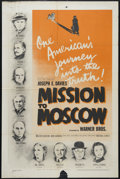 "Movie Posters:Drama, Mission to Moscow (Warner Brothers, 1943). One Sheet (27"" X 41""). Drama. Directed by Michael Curtiz. Starring Walter Huston,..."