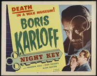 "Night Key (Realart, R-1954). Half Sheet (22"" X 28""). Thriller. Directed by Lloyd Corrigan. Starring Boris Karl..."