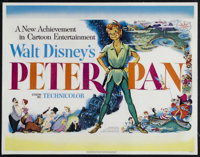 "Peter Pan (RKO, 1953). Half Sheet (22"" X 28""). Family. Directed by Clyde Geronimi, Wilfred Jackson and Hamilto..."