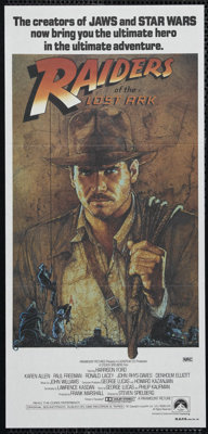 """Raiders of the Lost Ark (Paramount, 1981). Australian Daybill (13"""" X 30""""). Adventure. Directed by Steven Spiel..."""
