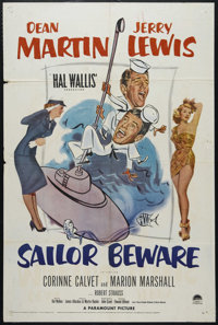 "Sailor Beware (Paramount, 1952). One Sheet (27"" X 41""). Comedy. Directed by Hal Walker. Starring Dean Martin..."