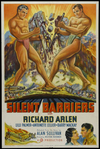 "Silent Barriers (Gaumont British, 1937). One Sheet (27"" X 41""). Style B. Adventure. Directed by Geoffrey Barka..."