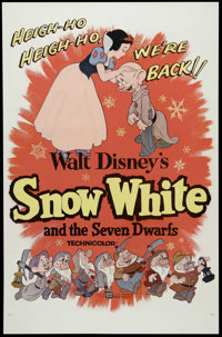 "Snow White and the Seven Dwarfs (Buena Vista, R-1958). One Sheet (27"" X 41""). Animated Fairy Tale. Directed by..."