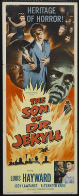 """The Son of Dr. Jekyll (Columbia, 1951). Insert (14"""" X 36""""). Horror. Directed by Seymour Friedman. Starring Lou..."""