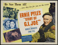 "Movie Posters:War, Story of G.I. Joe (United Artists, 1945). Half Sheet (22"" X 28"").Style B. War. Directed by William Wellman. Starring Burges..."