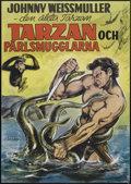 "Movie Posters:Adventure, Tarzan and the Mermaids (RKO, R-1960s). Swedish One Sheet (27.5"" X39.5""). Adventure. Directed by Robert Florey. Starring Jo..."
