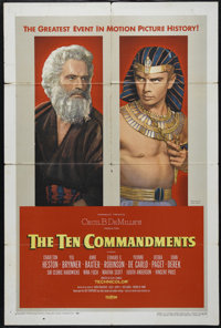 "The Ten Commandments (Paramount, 1956). One Sheet (27"" X 41"") Style B. Religous Epic. Directed by Cecil B. DeM..."