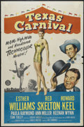 "Movie Posters:Musical, Texas Carnival (MGM, 1951). One Sheet (27"" X 41""). Comedy. Directed by Charles Walters. Starring Esther Williams, Red Skelto..."