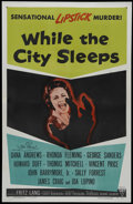 "Movie Posters:Film Noir, While the City Sleeps (RKO, 1956). One Sheet (27"" X 41""). Thriller. Directed by Fritz Lang. Starring Dana Andrews, Ida Lupin..."
