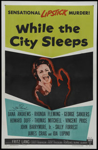 """While the City Sleeps (RKO, 1956). One Sheet (27"""" X 41""""). Thriller. Directed by Fritz Lang. Starring Dana Andr..."""