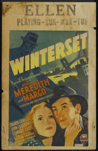 "Winterset (RKO, 1936). Window Card (14"" X 22""). Drama. Directed by Alfred Santell. Starring Burgess Meredith M..."