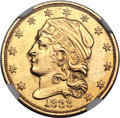 Early Quarter Eagles, 1833 $2 1/2 BD-1, R.5 -- Obverse Repaired -- NGC Details. AU....