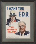 Political:Posters & Broadsides (1896-present), Franklin D. Roosevelt: James Montgomery Flagg Uncle Sam Poster....