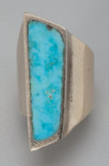 American Indian Art:Jewelry and Silverwork, A Southwest Gold and Turquoise Ring. c. 1980...
