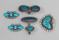 American Indian Art:Jewelry and Silverwork, Six Navajo Silver and Turquoise Jewelry Items. c. 1960... (Total: 6)