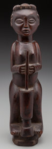 Tribal Art, A Standing Female Figure with Mortar and Pestle, Chokwe, Angola.Early 20th century. ...