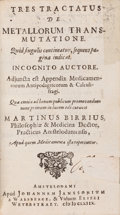 Books:Metaphysical & Occult, Martin Birrius. Tres Tractatus De MetallorumTransmutatione.... Amsterdam: 1668....