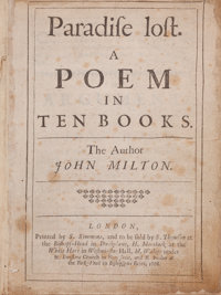 John Milton. Paradise Lost. A Poem in Ten Books. London: Printed by S. Simmons, and