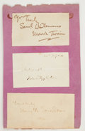 Autographs:Authors, [Mark Twain]. Samuel Clemens Signature with Two Additional Signatures....