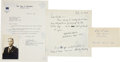 Autographs:Military Figures, Enola Gay: Group of Three Items...