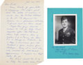 Autographs:Military Figures, George A. Caron Autograph Letter Signed and Signed Photograph....