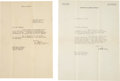 Autographs:Celebrities, [Amelia Earhart]. Two George P. Putnam Typed Letters Signed....