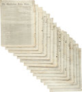 Miscellaneous:Newspaper, [Reconstruction]. Newspapers: Group of Fifteen Issues of TheCharleston Daily News....