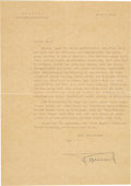Autographs:Non-American, Erwin Rommel Typed Letter Signed to Captain Hellmuth Lang....
