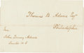 Autographs:U.S. Presidents, John Quincy Adams Address Panel Signed with a Free Frank Signature....