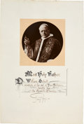 Autographs:Non-American, Pope Pius XI Signed Blessing. ...